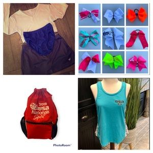 Cheerleader uniform Bundle competition backpack clothing bows tank